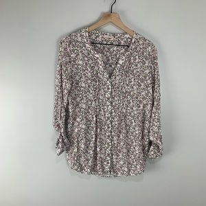 Jane and Delancey White/Pink/Green Floral Blouse